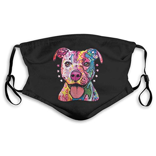 Mundschutz Neon Colorful Pitbull Face Cover Mouth Cover Mouth Scarf Face Covering Washable Reusable with Replaceable Filter M