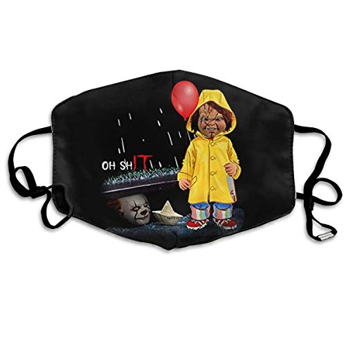 Mundschutz Unisex Reusable Mouth Cover Face Cover with Pennywise It Chucky Oh Dust Face Cover Adjustable Earloops