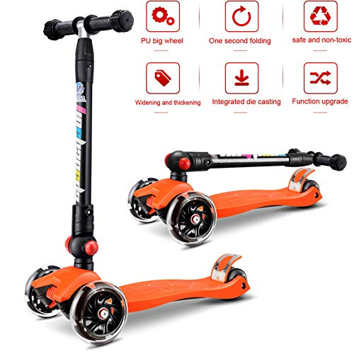 PIAOL Kinder Scooter Kickscooter Roller Mit Scooter 3 Räder Micro Scooter Tretroller Klappbar City Scooter LED Räder Robusten Ausstattung Belastbarkeit Bis Kinder Ab 3 Jahre Ostergeschenk,B