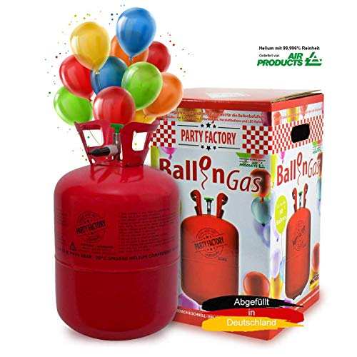 Party Factory Ladenburg Ballongas Helium Flasche für 50 Luftballons inkl. 50 Party Ballons