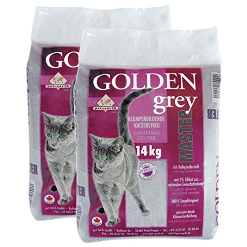 pet earth Golden Grey Master Katzenstreu Babypuderduft 2x14kg