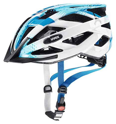 uvex Unisex Jugend, air wing Fahrradhelm, blue white, 52 57 cm