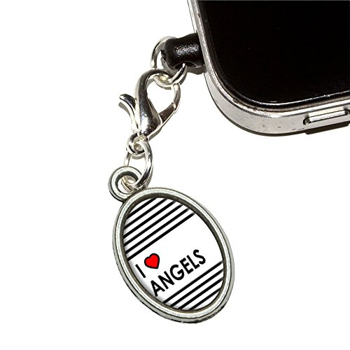 I love Herz Engel Handy Jack Anti-Staub Oval Charm für iPhone iPod Galaxy