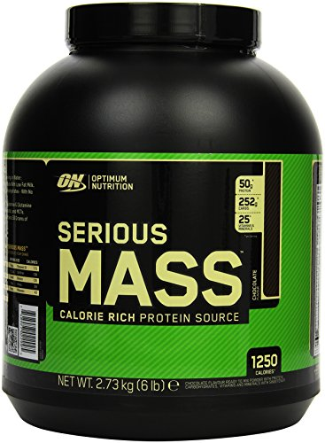 Optimum Nutrition Serious Mass Weight Gainer mit Kohlenhydratemischung Vitaminen Kreatin und Glutamin Shake von ON Chocolate 8 Portionen 2,73kg