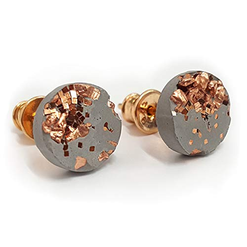Concrete Jungle® Ohrstecker Grey Rosé  Echtschmuck  18kt Rosegold nickelfrei  High Tech Beton Kupfer veredelt