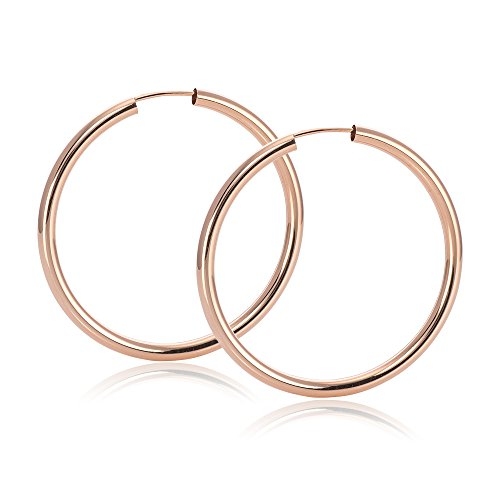 MATERIA Dünne Rosegold Damen Kinder Ohrringe 925 rose vergoldet flexibel 25 35 55mm   Made in Germany