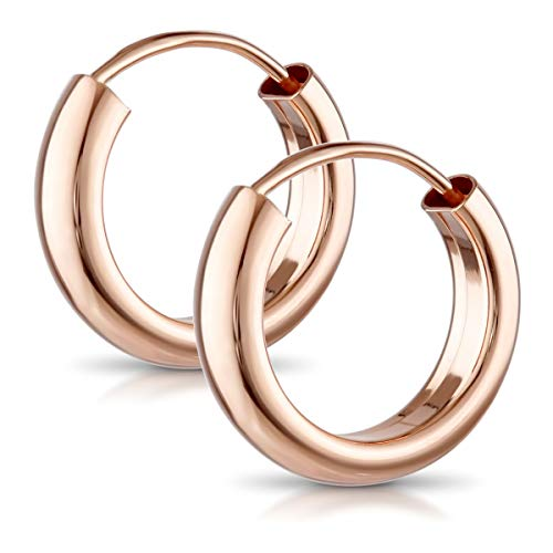 MATERIA Damen Ohrringe Rosegold   925 rose vergoldet 3mm breit 15 20 25 48 groß   Made in Germany