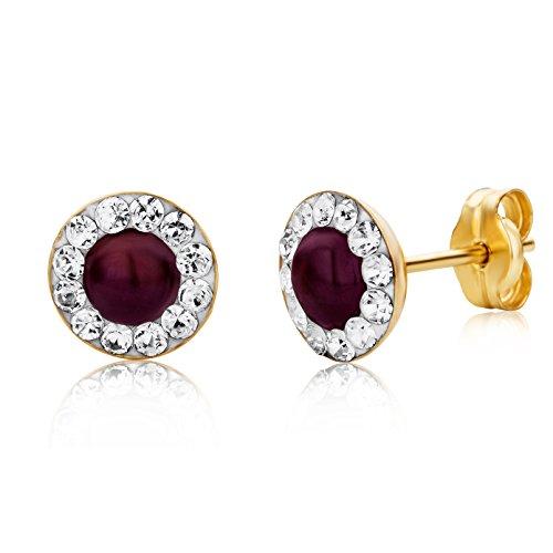 023a8ffa0499 Miore Ohrringe Damen Gelbgold 9 Karat   375 Gold Ohrstecker Rubin mit  Swarovski