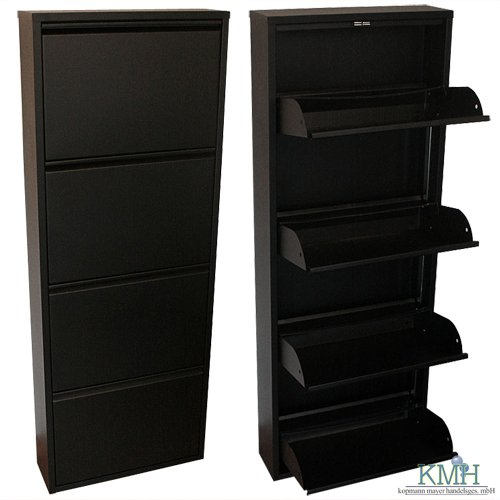 schuhschrank aus schwarz lackiertem metall mit 4 klappen schuhkipper schuhregal. Black Bedroom Furniture Sets. Home Design Ideas
