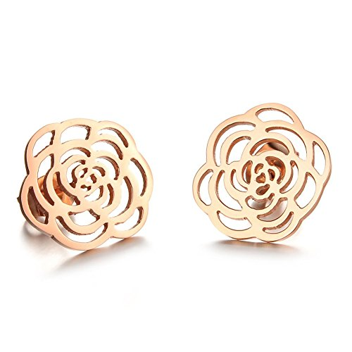Damen Titan Anti Rosa Gold Plated Hollow Out Flower Shaped