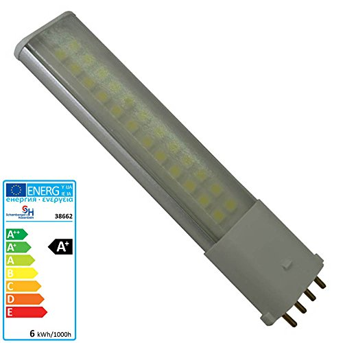 S+H LED Kompaktleuchtstofflampe mit 24 SMD LED 31x145mm 2G7 200 240 Volt/AC 6 Watt 480Lm nw 140 Grad