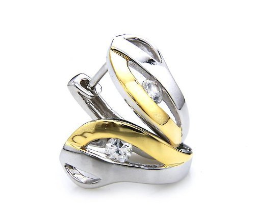 Silvity Damen Ohrring Creole 925 Sterling Silber Bi-Color 1,5 x 1,9cm 805101-20
