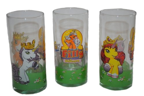 3 tlg. Set Trinkglas Filly Pferd - Glas Becher Trinkbecher Saftglas Kind Kinder